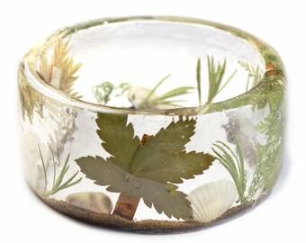 Beach Bracelet- Starfish Bangle- Star Fish Jewelry- Resin Jewelry- Summer Jewelry - Tropical Jewelry - Tan Resin Bracelet-Palm Tree Jewelry