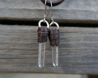 Leather wrapped crystal earrings, water clear quartz, rustic deerskin leather