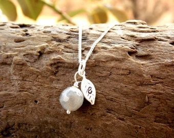 Tiny Leaf Monogram Initial Necklace Sterling Silver Hand Stamped Leaf Necklace