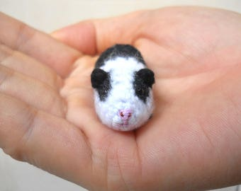 Tiny Crocheted Guinea Pig - Miniature Black White Guinea Pig Stuffed Animal - Made To Order