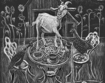 Goat painting, barnyard, original artwork: The Tea Party