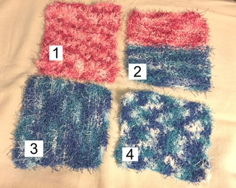 Scrubby, knitted or crocheted, yarn