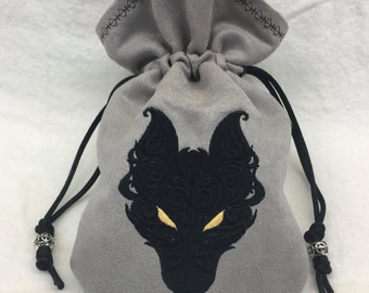BLACK WOLF - Embroidered Drawstring Dice Bag, Tarot Card Bag, Rune Pouch made of faux suede - LARP Costume Accessory