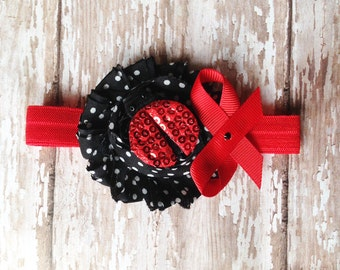 Ladybug  Headband | Red, White, and Black Polka Dot Headband | Newborn-Adult