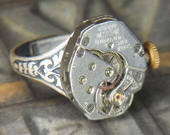 Women's Steampunk Ring - Vintage SILVER WESTCLOX Watch Movement w Unique Bridges - Torch SOLDERED - Birthday Anniversary Gift - Fine Design