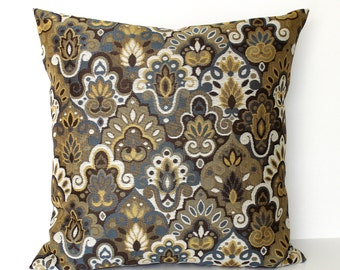 Grey Gold Brown Throw Pillow Cover Medallion Upholstery Fabric Decorative Pillow Cushion Cover Sham 26x26 24x24 22x22 20x20 18x18 16x16