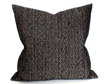 Black Pillow Cover Herringbone Chenille Upholstery Fabric Throw Pillow Cover Decorative Pillow Cushion Cover 20x20 18x18 16x16