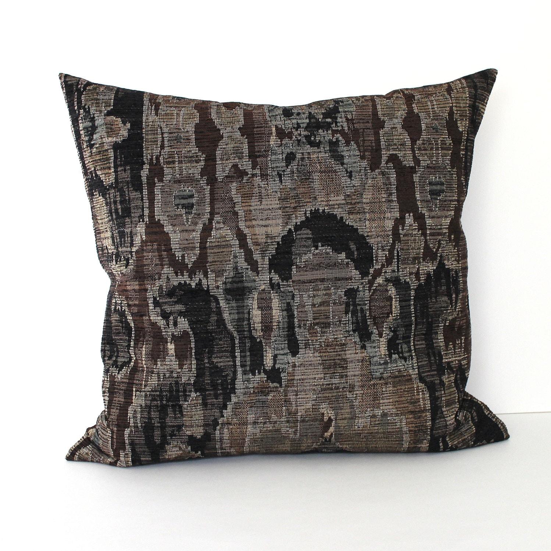 Black Chenille Throw Pillows : Black Pillow Cover Southwest Ikat Chenille Brown Throw Pillow