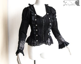 Shirt Victorian, Steampunk, romantic goth, black, Devota, Somnia Romantica, approx size (extra) small, see item details for measurements