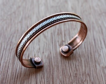 Vintage Cuff Bracelet - Copper Cuff - Silver Cuff - Magnetic Cuff - Mixed Metal Bracelet - Therapy Bracelet - Arthritis Jewelry - Unisex