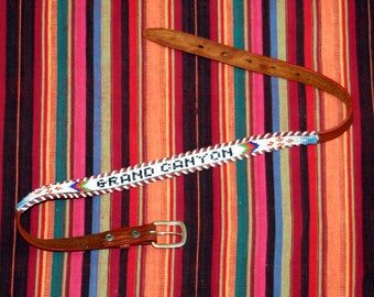Grand Canyon Beaded Belt / 60's High Waist Leather Belt