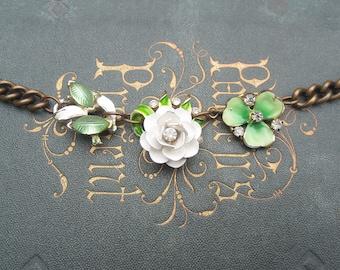 Floral Vintage Assemblage Necklace / Green Enamel and Rhinestone Repurposed Jewelry / Summer Mori Girl / OOAK