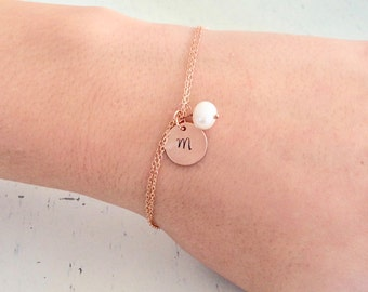 Rose Gold Pearl Bracelet, Personalized Gift, Bridesmaids Gift, rose gold wedding bridesmaid gifts for her best friend gifts june birthstone