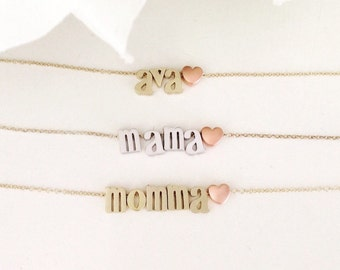 Personalized Gift, name necklace, Gold Necklace, Mothers Day Gift, Birthday, best friend gift, initial necklace, heart, best selling item