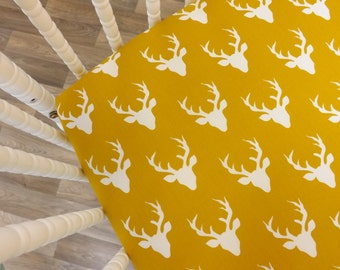 Crib Sheet- Deer Sheet- Buck Sheet- Mustard Sheet READY TO SHIP--Buck Crib Sheet- Fitted Crib Sheet- Deer Crib Sheet