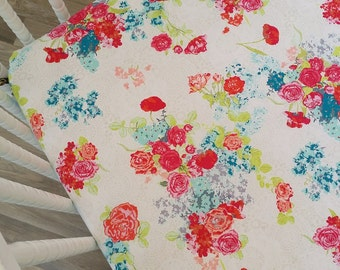 Crib Sheet- Floral Crib Sheet- READY to SHIP- Girl Crib Bedding- Mattress Cover