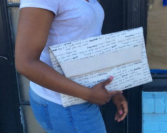 Writings Oversized Cream Cotton and Light Grey Faux Leather Clutch Bag