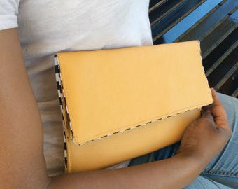 Checkerboards Mustard Yellow Leather Envelope Clutch Bag