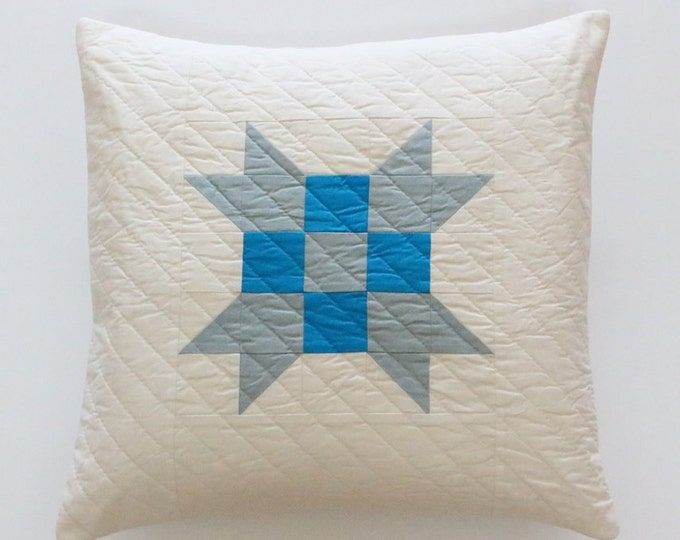 Blue White Quilted Patchwork Pillow