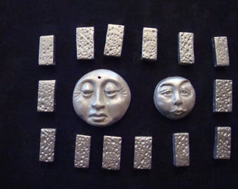 Lot of 2 face and 14 Rectangular Gray/Silver Polymer Clay Beads