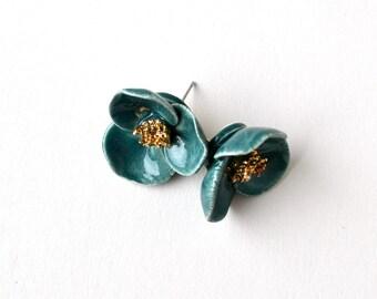 Emerald rose hip earrings - large ceramic flower studs - green earrings - ceramic jewelry