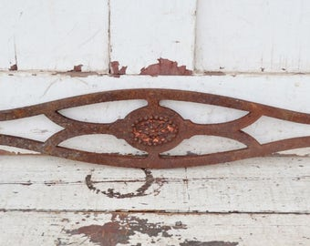 Small Vintage Cast Iron Section Door Gate Fence Balcony Panel Rusty Flower Salvage Piece Upcycle Repurpose Garden Decor Wall Art