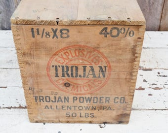Vintage Trojan Powder Co. Crate Wooden Dovetail Shipping Box with Lid RARE High Explosives Chemicals Allentown Pennsylvania 1930's