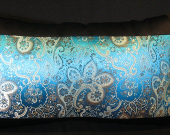 Turquoise tea blue black pillow cover 12 X 21
