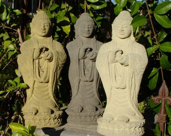 STANDING BUDDHA STATUE Solid Garden Art Sculpture. Original Lava Stone from Indonesia. Sealed for Outdoor use. Religious Sanctuary Figurine