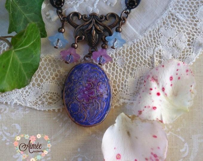 oval brass locket, antique copper locket, purple and blue dangles, memory locket, photo locket necklace, blue patina locket