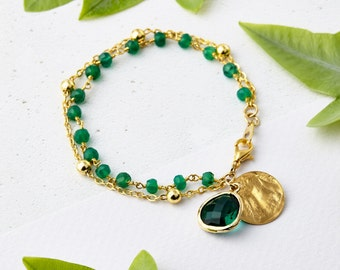 Emerald Gemstone Bracelet - May Birthstone Jewellery, Emerald Jewellery, Friendship Bracelet, Stacking Bracelet, Green Onyx, Gifts for her