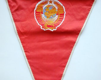 Red Satin Soviet Banner Pennant with USSR Coat of Arms - Super condition