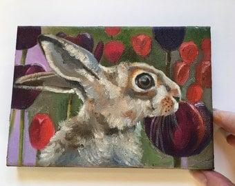 Original Hare Bunny Painting Childrens Illustration Animal Portrait Kids Art Nursery Wall Decor
