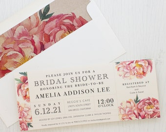 "Blush Floral Bridal Shower Invitations, Boho Shower Card with Matching Envelope Liner, Unique Bridal Shower, 3.00/each - ""Pink Peonies"""