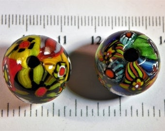 Two Glass Millefiori Beads With Face (Bead0006) Millefiori beads