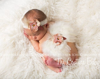 Ivory Feather Angel Wing & Headband Set Tan and Taupe Flower Accent Fairy Butterfly Wing Set Photo Prop Preemie Newborn