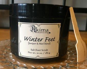 SALE!! WINTER FEET Salt Scrub 10 oz - exfoliating aromatherapy spa vegan body with Pistachio Butter Peppermint Wintergreen Juniper gift