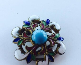 MASSIVE CLEARANCE Outstanding Antque Vintage Russian Champleve and Turquoise Enamel Buckle