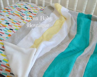 Baby Bedding, Crib Bedding. 2 Pieces. Fitted Sheet and Linen Stripe Blanket. Ready to Ship!