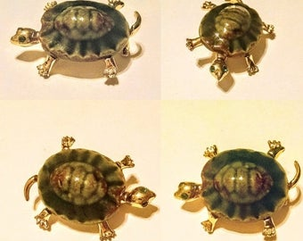 SAVE NOW Turtle Brooch Pin Ceramic Gold Tone Vintage Jewelry Jewellery Accessory Gift Guide Women Woodland Folk Figurals
