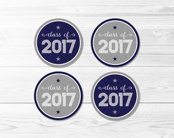 Graduation Round Labels -- Class of 2017, Blue & Gray, School Colors, Graduation Party, 1 Inch, 2 Inch, Printable, Instant Download
