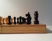 petite wooden chess set | wood chess set | hand carved chess set | rustic chess game set | rustic chess set | rustic game decor | game room