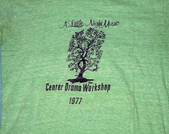 1977 Center Drama Workshop Little Night Music shirt small vintage vtg tree green