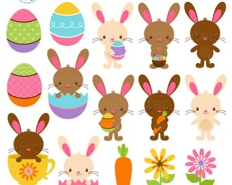 Easter Bunnies Clipart Set - clip art set of bunnies, rabbits, eggs, Easter, flowers - personal use, small commercial use, instant download
