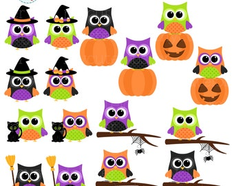 Halloween Owls Clipart Set - clip art set of owls, halloween colored owls, pumpkin - personal use, small commercial use, instant download