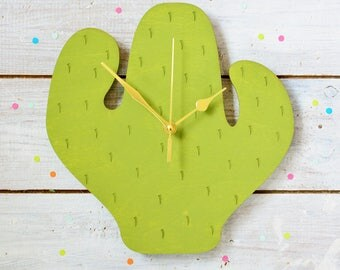 Cactus Clock | Cactus Decor | Gifts For Cactus Lovers | Cacti Wall Clock | Decorative Clock | Kitchen Clock | Housewarming Gift