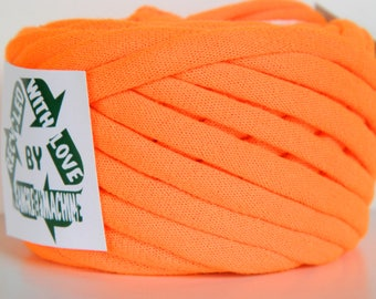 Recycled T-Shirt Yarn, Neon Orange 22 Yrds , T Shirt Yarn, Bulky