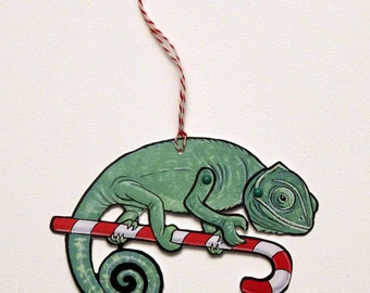 Chameleon Jointed Gift Tag or Christmas Ornament, Mini Rainforest Animal Paper Doll