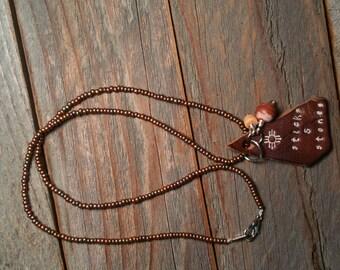 Beaded Sticks & Stones Necklace, Uplifting and motivational jewerly, Native pendant