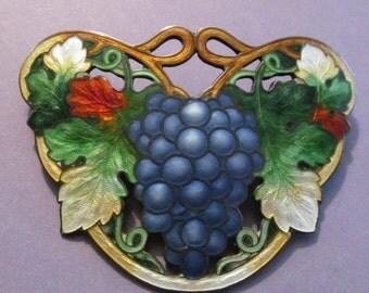 On Sale Antique Sterling Silver Cloisonne Grapes Brooch Art Nouveau Enamel Pin Circa 1910